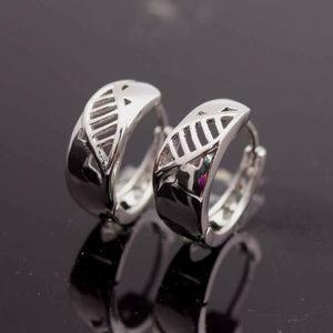Jewelry - 18K White Gold Leaf Carved Hoop Huggie Earrings GF